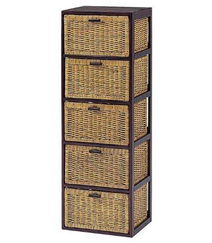 木製フレーム籐(ラタン)チェスト/ランドリー 40巾5段 B0064F1C7A