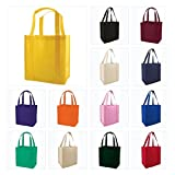 (Set of 25) Heavy Duty Grocery Shopping Tote Bag w/ Strong Reinforced Handles (BLACK)