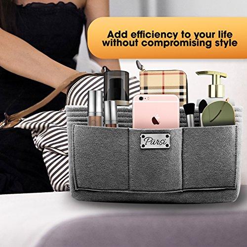 Pursi Handbag Purse Organizer Insert - Felt Fabric Multi Compartment Design by Pursi (Image #3)