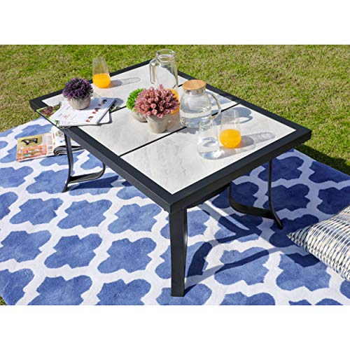 LOKATSE HOME Outdoor Patio Square Dining Table All Weather Furniture with Tile Top and Metal Legs (Top Patio Table Diy Mosaic)