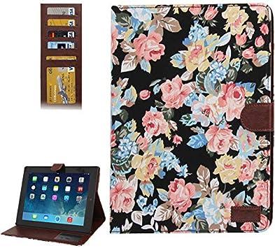Qazwsxedc para el iPad 2/3/4 Patrón qwe Peony Estuche de Cuero Textura de Mezclilla