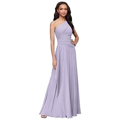 2f23cb35eb353 One-Shoulder Georgette Cascade Bridesmaid Dress Style F19832, Iris, 0