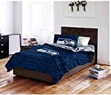 4pc NFL Seattle Seahawks Comforter Twin Set, Unisex, Football Themed, Fan Merchandise, White, Blue, National Football League, Sports Patterned Bedding, Team Spirit, Team Logo