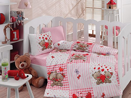 Teddy Bear, 100% Cotton Baby Girls Crib Bedding Baby Duvet Cover Set, Baby Comforter Included, Made in Turkey - 5 Pieces (Teddy Bear Pink) from Bekata