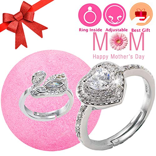 Perfect Ring Diamond Heart - Easter Egg Jewelry Bath Bomb with Ring Surprise Prizes Gift Inside for Women Kids Bath Bomb Hidden Diamond Heart Rings One Sizes Fit All Best Spring Gift Set (Mothers Day Promotion Week)