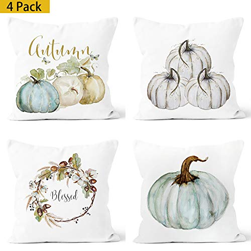 Trineybell Throw Pillow Happy Fall Yall Pumpkin Thanksgiving Decoration Cotton Blend Cushion Cover Set of 4,18x18, Pack of 4]()