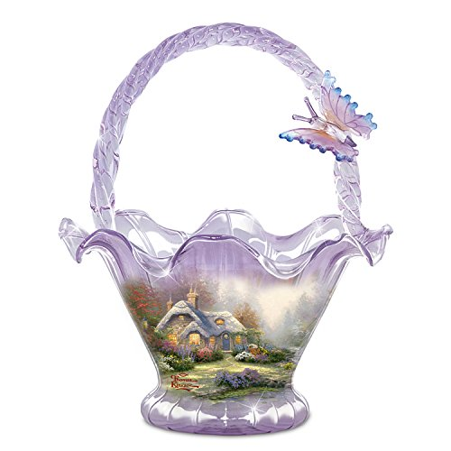 Thomas Kinkade Everett's Cottage Hand Blown Art Glass Bowl by The Bradford Exchange