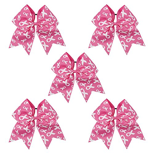 CN 7 Inch Jumbo Breast Cancer Awareness Cheerleader Bow Print Grosgrain Ribbon Hair Bows with Elastic Tie for Cheerleader
