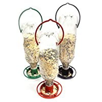 Gadjit 3 Hanging Soda Bottle Bird Feeders - 3, Fill Plastic Soda Bottles with Bird Seed, Twist on Feeding Tray, Hang Outdoors, Feed Wild Birds, Promote Re-use Pack of 3