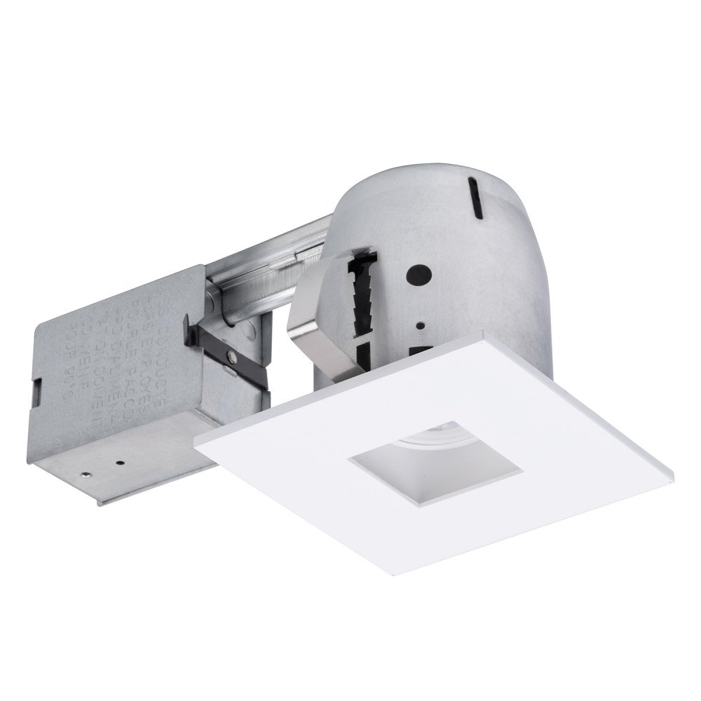 4'' LED IC Rated Swivel Spotlight Recessed Kit Dimmable Downlight, Die Cast, Square Trim, White Finish, 1x GU10 LED Bulb Included, Globe Electric 90738