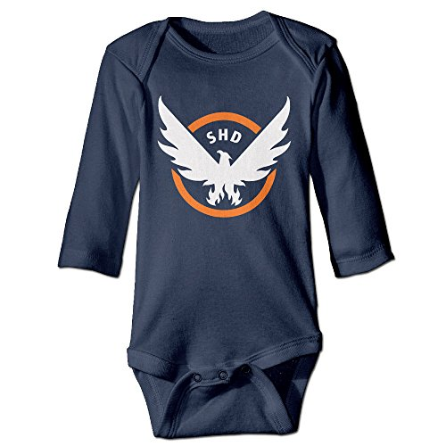 HYRONE Eagle Video Game Logo Baby Bodysuit Long Sleeve JumpSuit Romper Size 6 M Navy