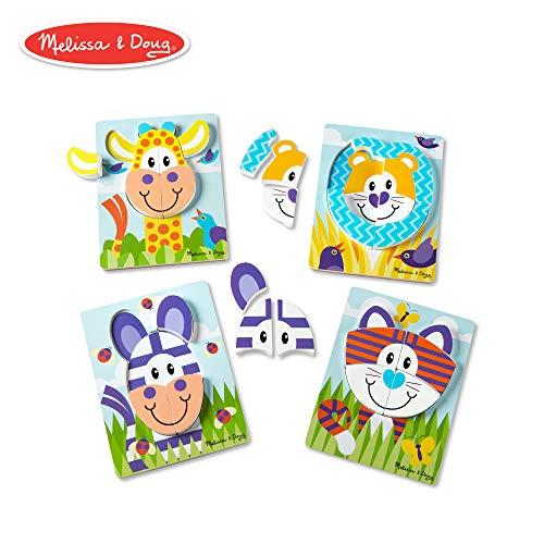 - Melissa & Doug First Play Safari Animals Wooden Chunky Jigsaw Puzzle Set (4-Pack, 9.75
