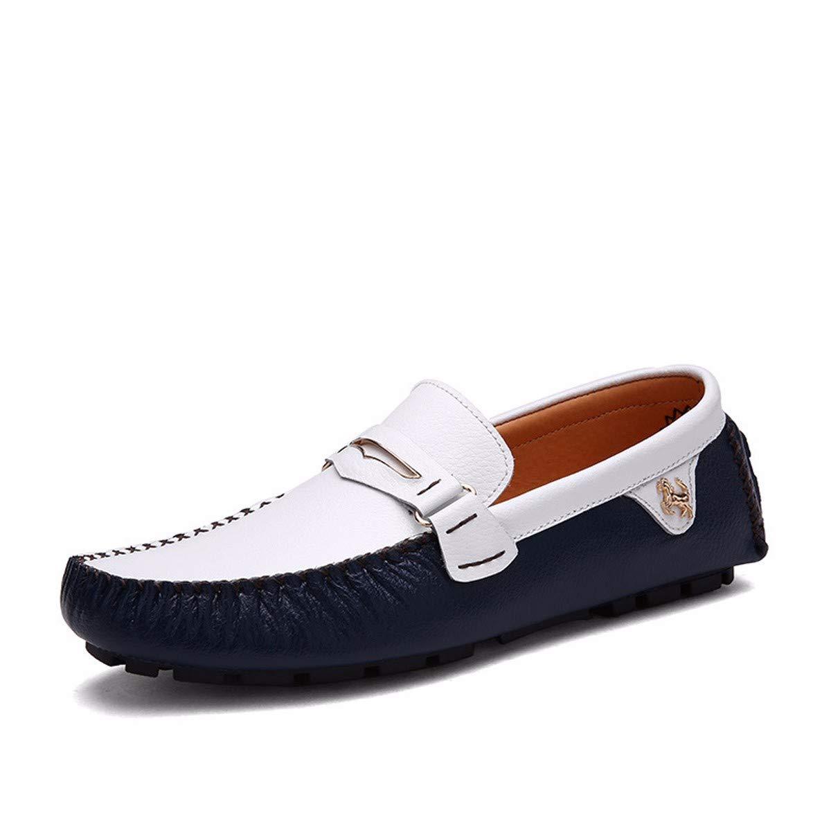 KMJBS-Im Sommer Fahren Männer Lederschuhe Schuhe Lässige Schuhe Leder Faule  Herrenchen.Blau 38