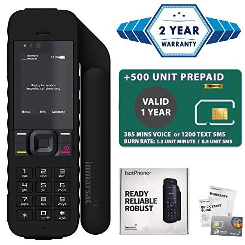 2019 Unlocked IsatPhone 2.1 Satellite Phone with 500 Minute Prepaid SIM Card Valid 1 Year - Voice, SMS, GPS Tracking, Emergency SOS Global Coverage - Water Resistant