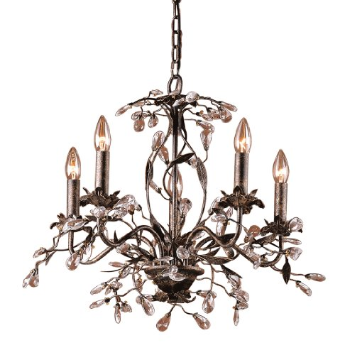 Elk 8053 5 5-Light Chandelier In Deep Rust and Crystal Droplets