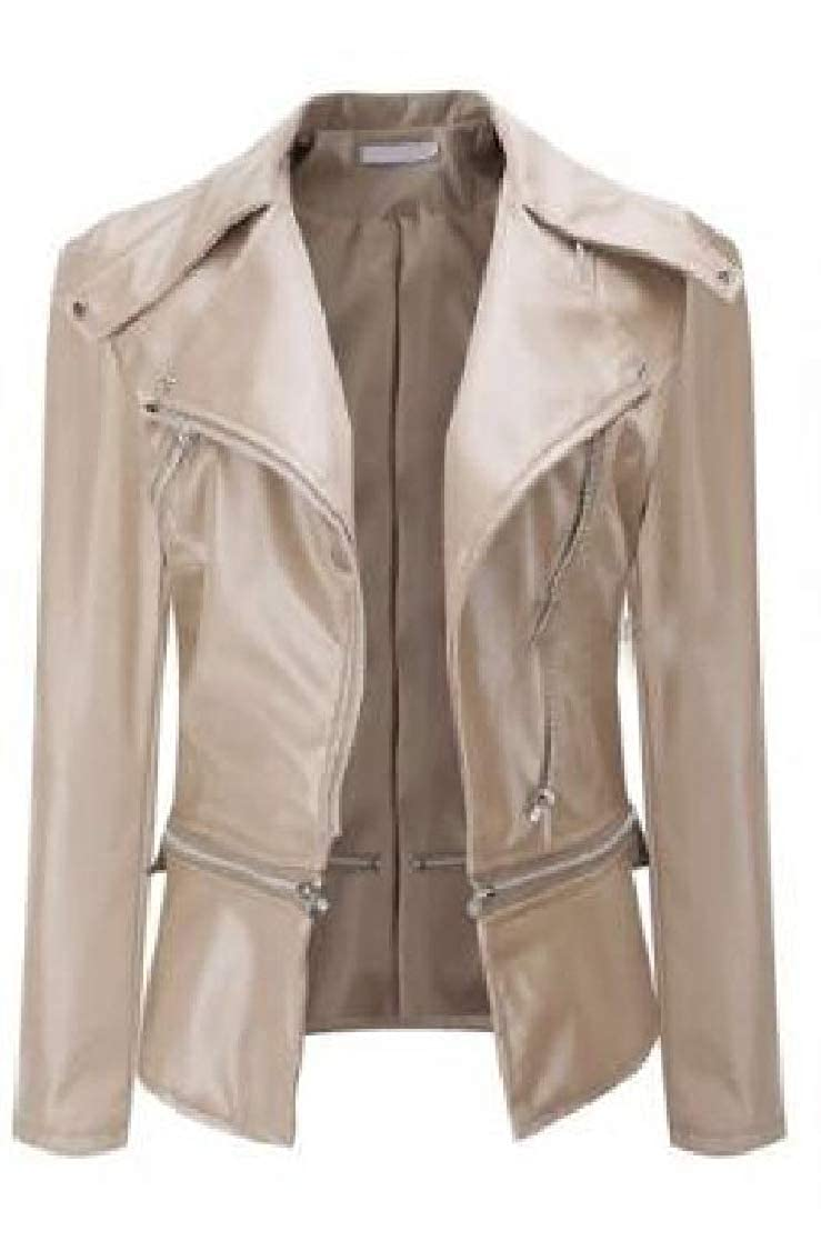 YUNY Women with Zips Slim Pure Colour Thicken Individuality Faux Leather Jackets 1 2XL
