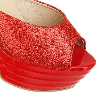 LvYuan Mujer-Tacón Robusto-Otro-Sandalias-Vestido Informal Fiesta y Noche-PU-Rojo Plata Oro Red