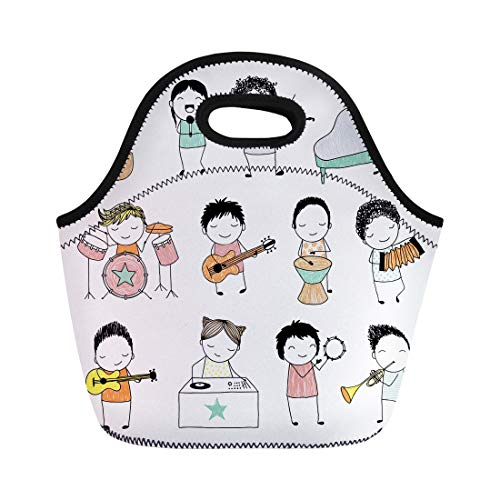 (Semtomn Lunch Bags Music Collection of Cute Doodle Kids Playing Different Musical Neoprene Lunch Bag Lunchbox Tote Bag Portable Picnic Bag Cooler Bag)