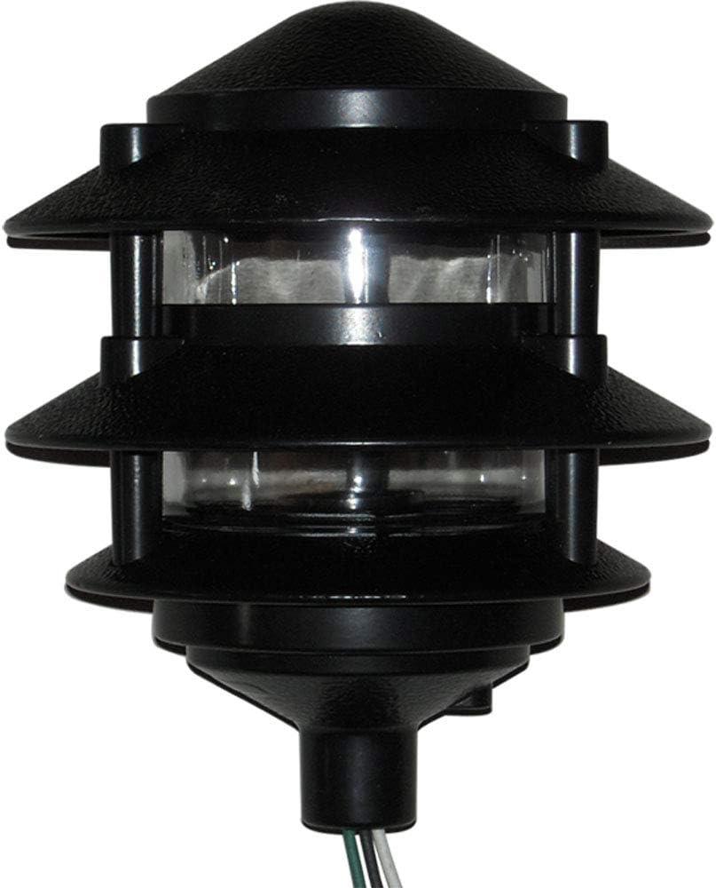 Greenfield PL3TLEDBL Made in USA Black LED Weatherproof 3-Tier Pathlight