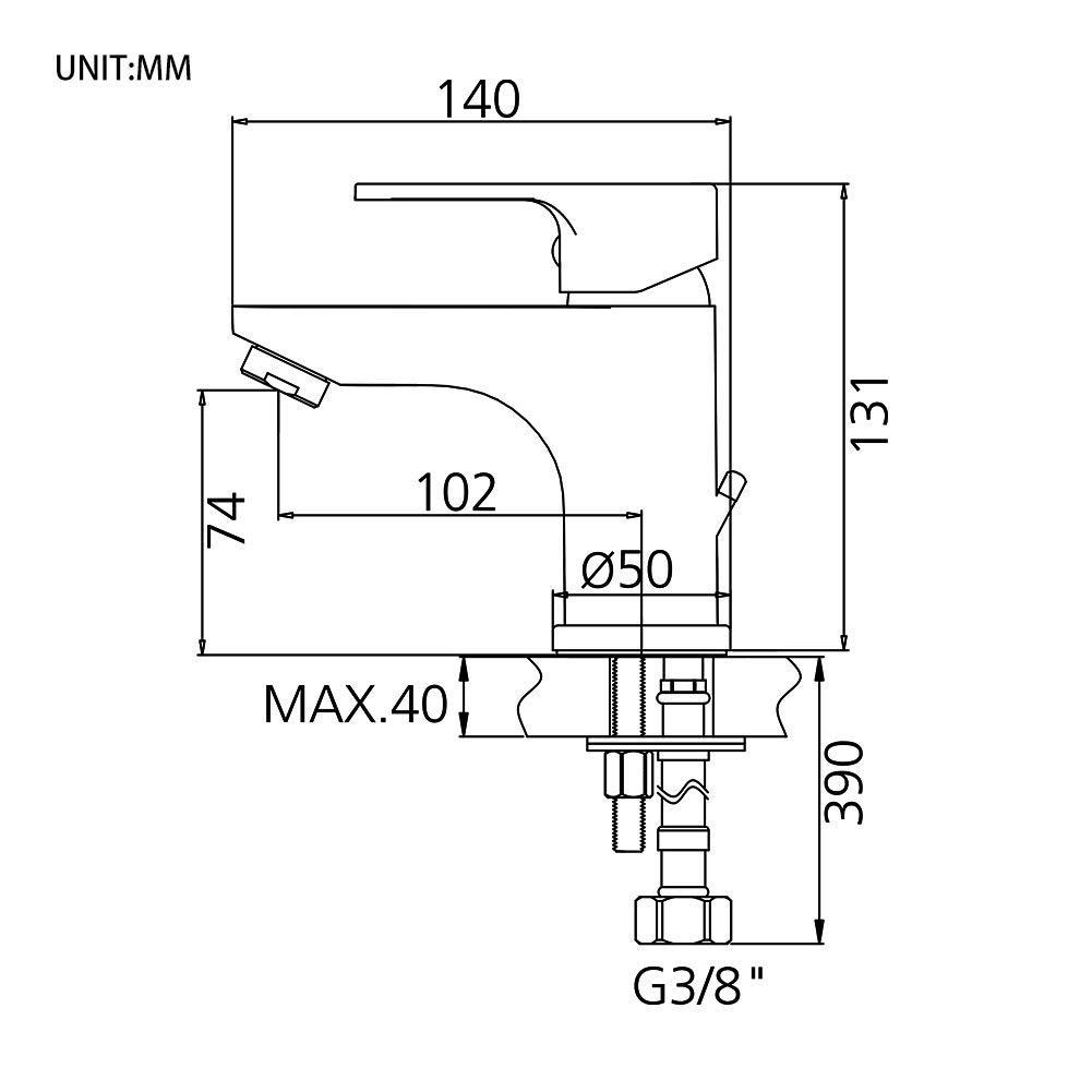 GRIFEMA G15003 Grifo Monomando con Enganche para Cadenilla Mezclador de Ba/ño Bid/é 3//8 Cromo//Plata