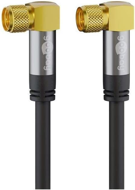 4x Shielded 135 dB Goobay 70567 SAT Antenna Cable Black 1m Length