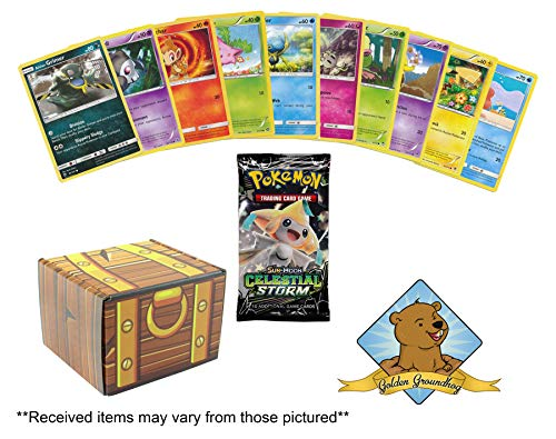 100 Pokemon Card Lot - Featuring 1 Random Pokemon Series Booster Pack (10 Cards)! Includes Golden Groundhog Treasure Chest Storage Box!