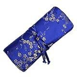 Silk Brocade Jewelry Roll (Plum Blossom, Classic Blue-Gold)