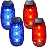 WINOMO 2 Pair Safety LED Light for Runners Bikes Boats High Visibility Clip Light for Running Walking Jogging (Blue+Red)