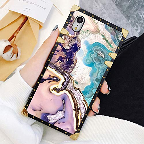 Square Case Compatible iPhone XR Agate Slice Marble Luxury Elegant Soft TPU Shockproof Protective Metal Decoration Corner Back Cover Case iPhone XR Case 6.1 ()