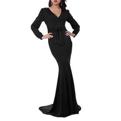 a7522ed7669a Women's Mermaid V-Neck Long Sleeve Halloween Party Maxi Dress With Belt,  Black,