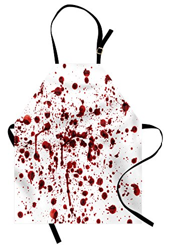 Ambesonne Horror Apron, Splashes of Blood Grunge Style Bloodstain Horror Scary Zombie Halloween Themed Print, Unisex Kitchen Bib Apron with Adjustable Neck for Cooking Baking Gardening, Red White]()