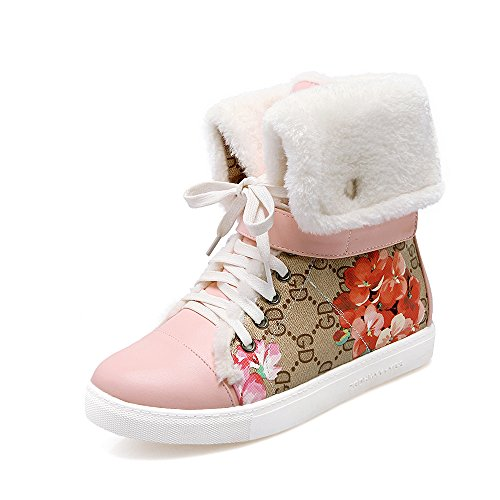 Snow AIWEIYi Warm Print Fur Pink Lace Flat Boots up Shoes Womens qfOS4qaZH
