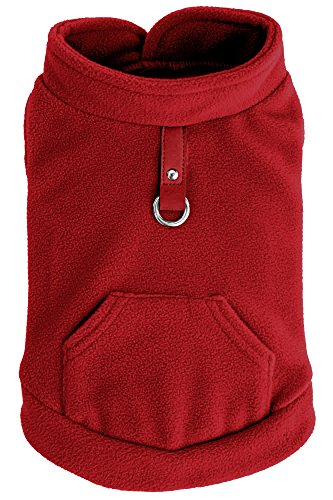 EXPAWLORER Fleece Autumn Winter Cold Weather Dog Vest Harness Clothes with Pocket , Red Extra (Extra Small Dog Apparel)