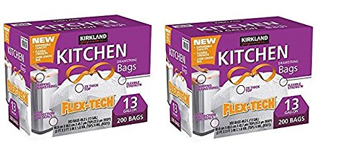Kirkland Signature Drawstring Kitchen Trash Bags - 13 Gallon - 200 Count (2 Packs of 200 bags)