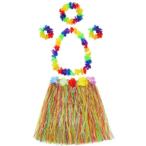 Hula Grass Skirt with Flower Leis Costume Set Including Elastic Luau Grass,Hawaiian Flower Bracelets,Headband,Necklace Set,Colorful -