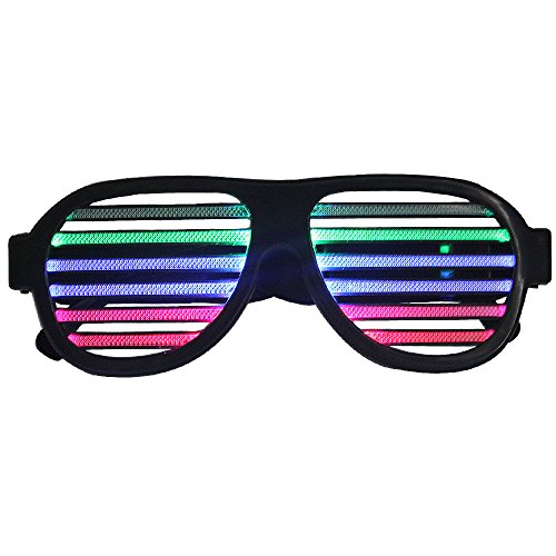 Sound Of Music Dance Costumes (LED Glasses, Sourcingbay Sound Sensitive Rechargeable Party Glasses, Light Up & Beat with Music, for Club, Dance Disco, Stage, Party, Concert)
