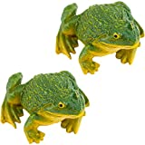Apipi 2 Pcs Realistic Miniature Frog Garden Statue- 3.5 × 1.5 Inch Mini Green Frog Figurine Statue Model Resin Frog Sculptures Indoor Outdoor Decor for Fairy Garden Decoration, Patio Yard Ornament
