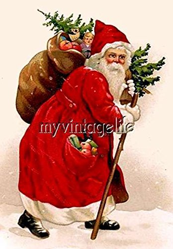 Vintage Old World Santa Clause Christmas Quilting Fabric Block 5x7 supplier_myvintagelife