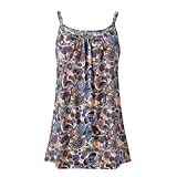 POHOK Women Camisole Tops Womens Summer Small Floral Printed Sleeveless Vest Blouse Tank Camis Clothes Coffee