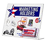 """Marketing Holders Clear Acrylic 11""""W x 8.5""""H Slant Back Table Sign Holder with Business Card Pocket Pack of 24"""