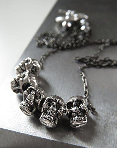 Goth Skull Necklace - Halloween Necklace Jewelry - 5 Five Teeny-Tiny Silver-Tone Skulls on Black Gunmetal Chain