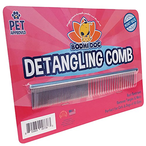 Premium Detangling Comb for Dogs & Cats | Detangler Grooming Brush for Pets | Remove Knots, Tangles, Matted Fur and Knotted Hair