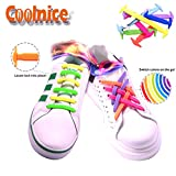 Coolnice® No Tie Shoelaces for Adults DIY 16pcs - Environmentally safe silicone - Lazy Shoestrings - Color of Sky blue