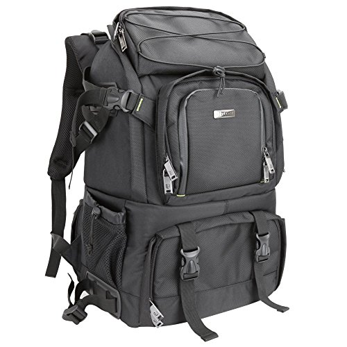 Evecase Extra Large Professional DSLR Camera & Laptop Travel Backpack Gadget Bag w/Rain Cover for Digital Cameras, 14 inch Laptop, Tablet, Lens Kit for Full Frame Mirrorless Digital Camera by Evecase