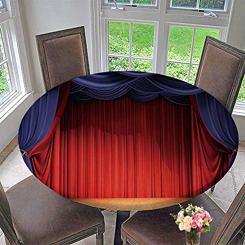 PINAFORE HOME The Round Table Cloth Velvet Curtains and Wooden Stage Floor for Birthday Party, Graduation Party 50