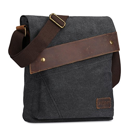 S-ZONE Vintage Lightweight Small Canvas Messenger Bag Travel Shoulder Crossbody Purse Dark (Gray) by S-ZONE (Image #2)