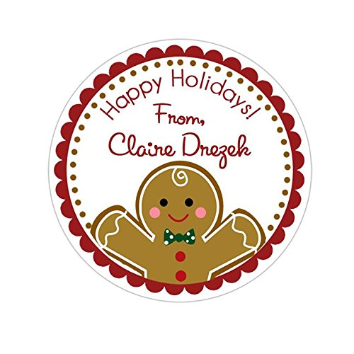 Personalized Customized Holiday Christmas Gift Stickers - Gingerbread Man - Round Labels - Choose Your Size