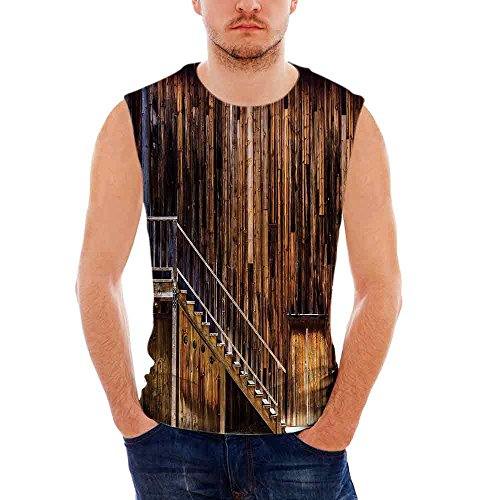 Male Sleeveless Printing Vest Western Wooden Cabin Structure Stairway Old Western Gold Rush Town in USA California (Gold Rush Boys Denim)