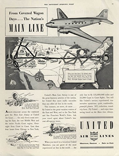 From Covered Wagon Days to The Main Line United Airlines DC-3 ad 1939 - Dc United Airlines