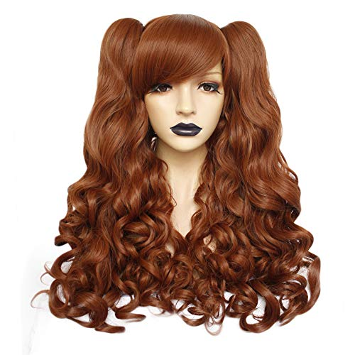 Anogol Hair+Cap Brown Cosplay Wig Long Body Wave Synthetic Wig For Girls Cosplay Costume Wig Costume Party Halloween Wig With Two Ponytails